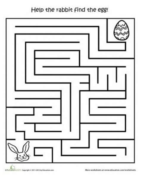 printable preschool worksheets mazes worksheets printable easter activities egg hunt maze