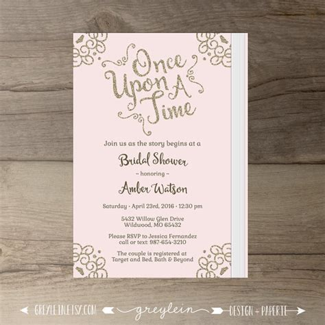 once upon a time bridal shower invitations pink blush and