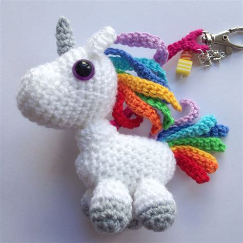 amigurumi ring pattern rainbow unicorn bag charm keyring amigurumi unicorn