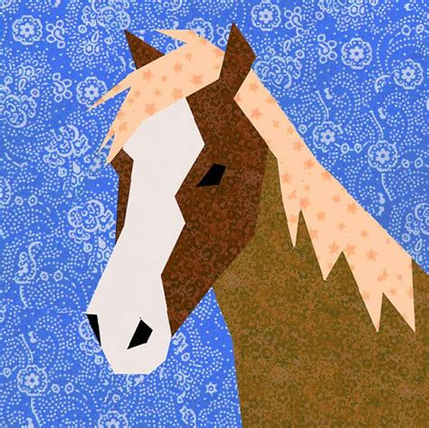 pinterest horse pattern horse paper pieced quilt block pattern pdf by bubblestitch