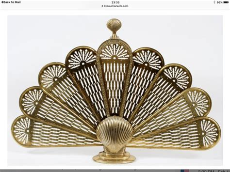 fan shaped fireplace screen antique brass french fan shaped fire screen ebay