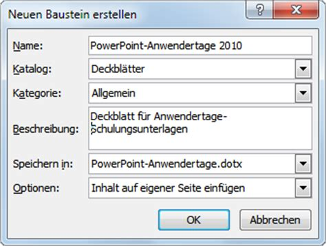 Word Vorlage Speicherort Word 2010 Ein Deckblatt F 252 R Teilnehmerunterlagen Office Kompetenz De