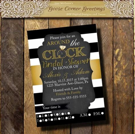 black and gold bridal shower invitations choose colors around the clock bridal shower invitation