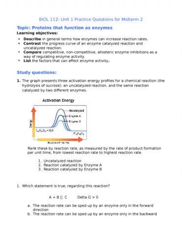biol 112 exam notes: biol 112 midterm: unit 2 practice