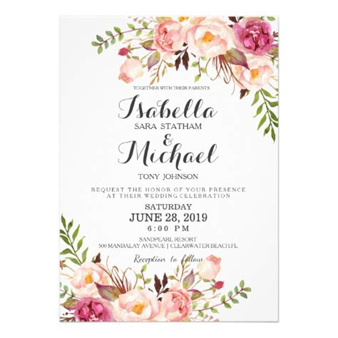Floral Wedding Invitations by Rustic Floral Wedding Invitation Zazzle