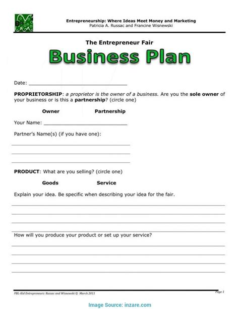 Briliant Business Plan Template Printable Free Business Plan Template Inzare In Vibiraem Performing Arts Business Plan Template
