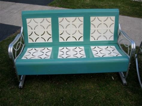 retro glider bench vintage retro patio furniture 195039s aluminum metal