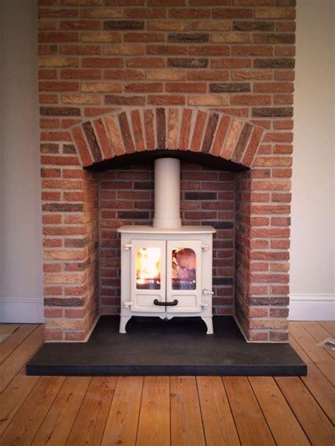 brick fireplace surround woodburner google search