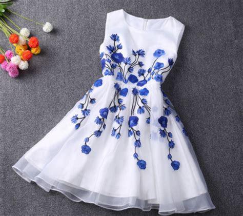 white dress with blue flowers dress summer dress flowers floral dress blue