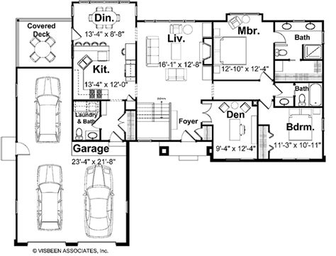 Visbeen Floor Plans | craftsman style house plan 4 beds 3 5 baths 2573 sq ft