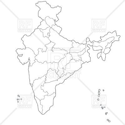 India Political Map Outline With States by Outline Of Map Of Indian States Administrative Division Of India Royalty Free Vector Clip