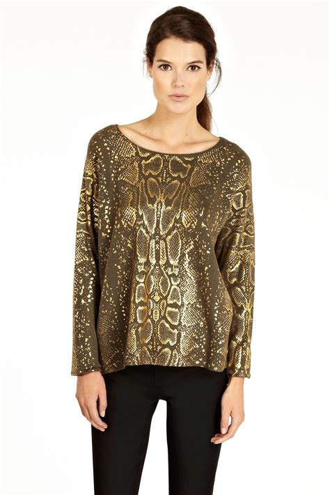 Oasis Do A Serpent Dress by Oasis Foil Snake Print Top In Brown Khaki Lyst