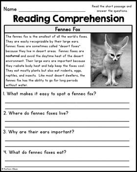 Reading Comprehension Passages - Desert Animals by