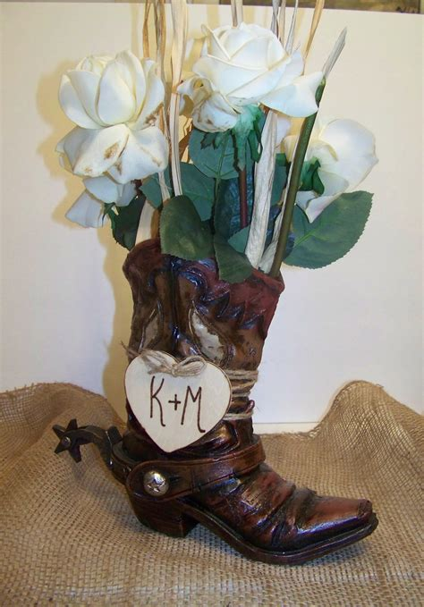 rustic wedding centerpiece cowboy boot flower vase with wooden