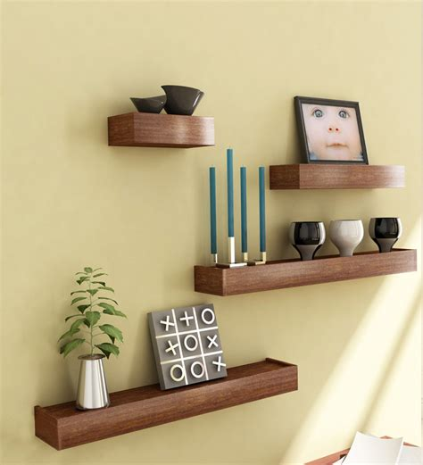 wooden home decoration mango wood set of 4 shelves by market finds online wall shelves home decor pepperfry product