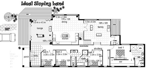 free home plans sloping land house plans plan no 310clm 4 bedroom office sloping land house