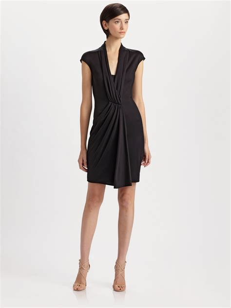 jersey drape dress akris silk jersey drape dress in black lyst
