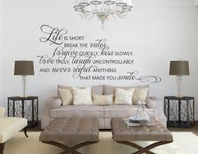 living room wall decals life is short quote wall inspirational wall quotes decals