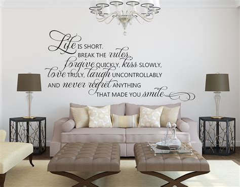 living room wall decals living room wall decals life is short quote wall