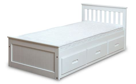 bed with storage drawers white mission children s 3ft single wooden bed with 3 drawers storage
