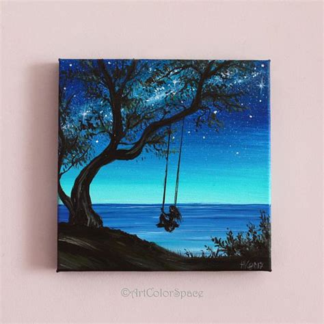 tree swing painting small painting girl on tree swing art summer day oil