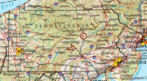 maps of pennsylvania shaded relief map united states