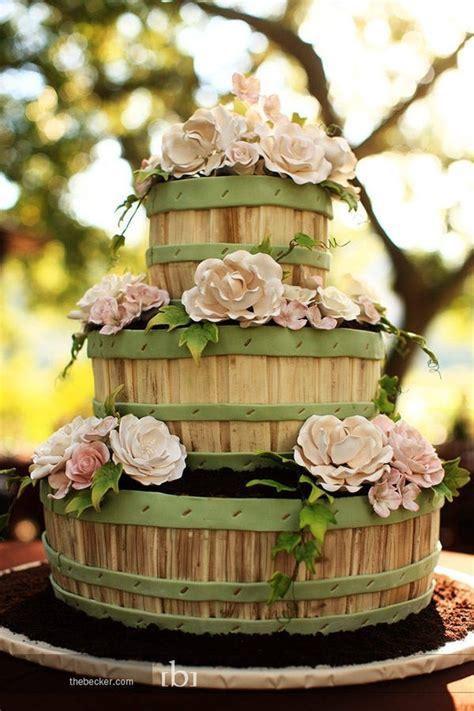 Flower Garden Cake Ideas Wedding Rustic Flower Basket Wedding Cake A Wedding Cake
