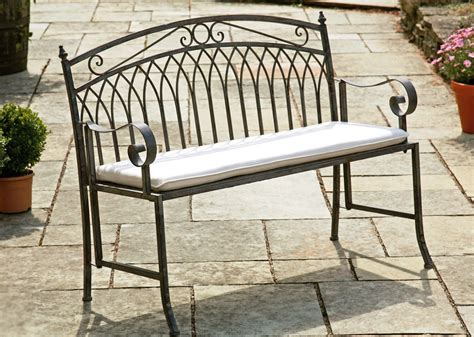 garden metal bench wash grey steel garden bench seat westmount living