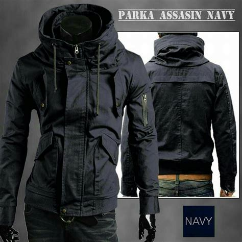 Jaket Hoodies Kasual Pria Canvas Hitam Parka J1n3l48 jual jaket parka assasin polos hitam army rainy city shop rcs
