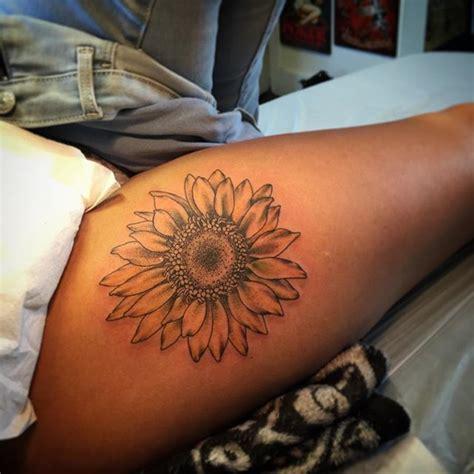 butt tattoo designs sunflower on the thigh hip sunflower flower flower