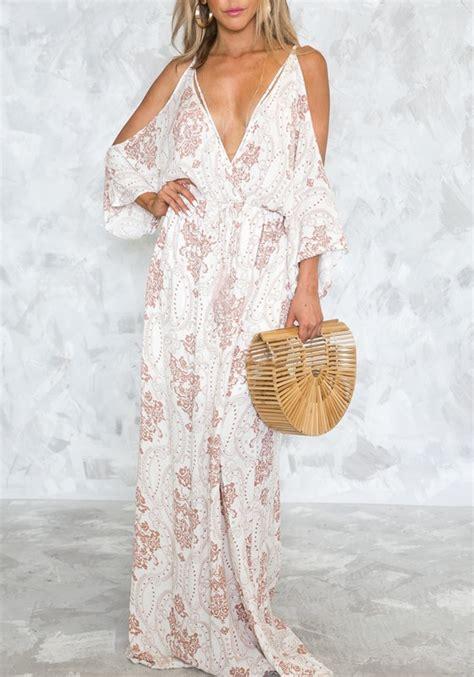 Lv New Maxi white cut out drawstring lace up flowy v neck las vegas bohemian maxi dress maxi dresses