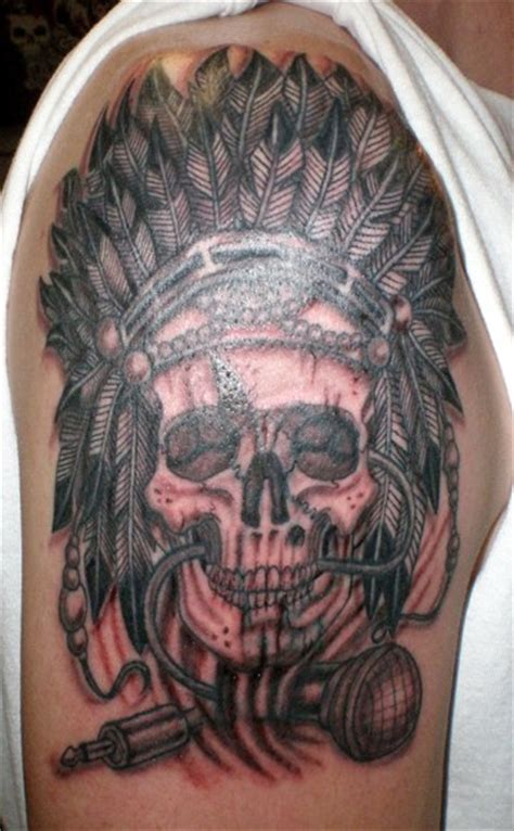 indian themed tattoo themed big black and white indian skull with