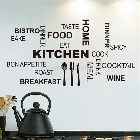 Poster Quotes Wall Bingkai Kayu Kitchen kitchen wall quotes food wall stickers diy vinyl adesivo de paredes home decals posters