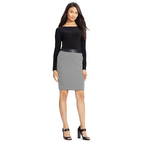 Dress Houndstooth lyst ralph houndstooth sleeved dress in black