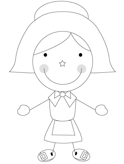 coloring page pilgrim girl a pilgrim girl coloring pages