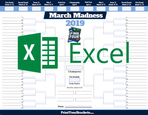 blank march madness bracket template excel template ncaa march madness bracket 2019