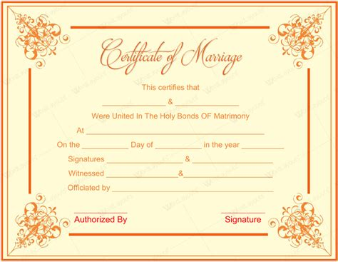 free wedding certificate template document templates february 2016