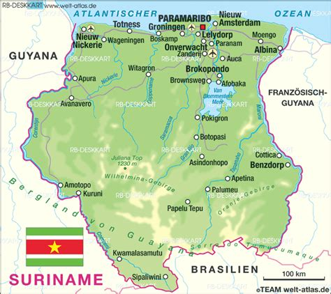 surinam map map of suriname map in the atlas of the world world atlas