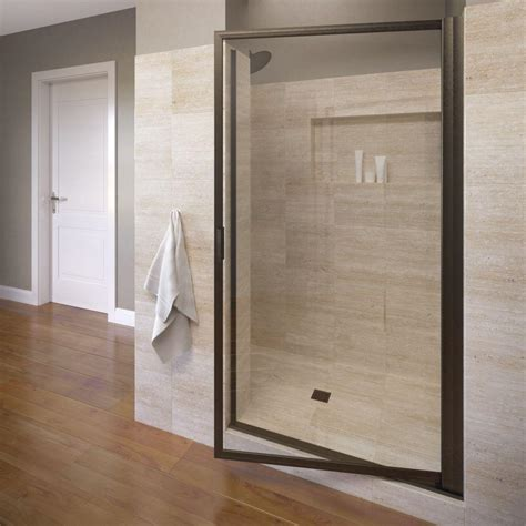 Bosco Shower Doors Basco Deluxe 32 7 8 In X 67 In Framed Pivot Shower Door In Rubbed Bronze With Clear Glass