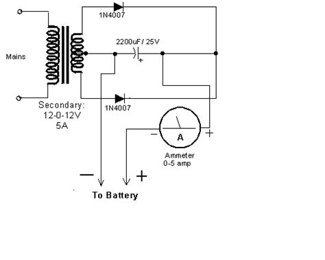 capacitor battery schematic i need to charge my car battery 12v