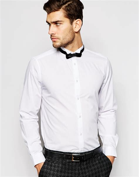 Bow Collar Shirt asos smart shirt with sleeve and wing collar with bow