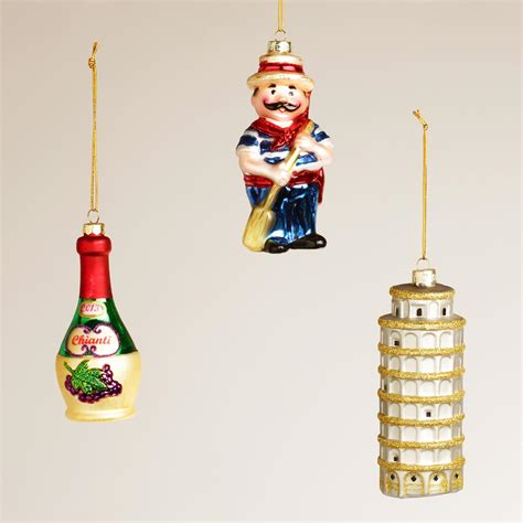 italy glass ornaments set of 3 world market