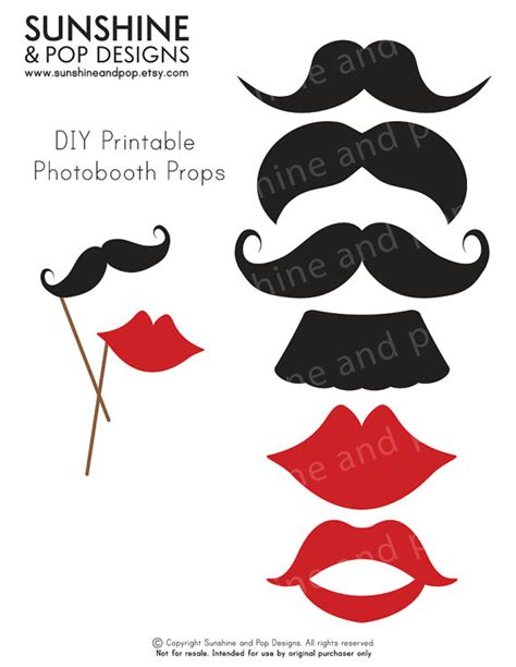 free printable moustache and lips photo booth props instant download diy printable photobooth props mustache
