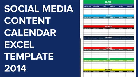social media caign template social media calender template excel 2014 editorial