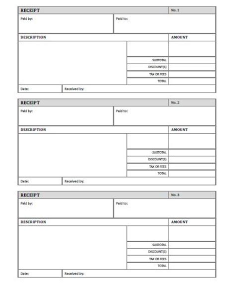 printable receipt templates receipt free printable allfreeprintable