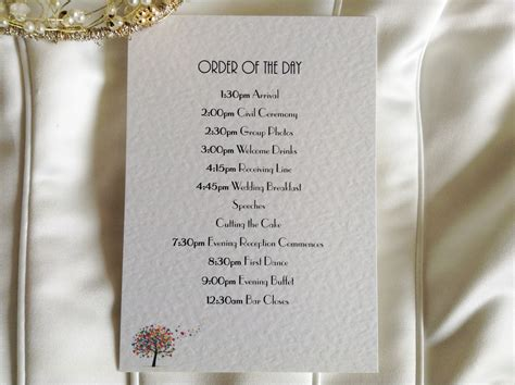 Wedding Order by Tree Wedding Order Of Day Cards Stationery