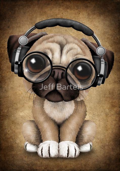 pugs glasses quot pug puppy dj wearing headphones and glasses