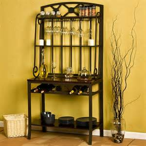 Bakers Rack With Wine Glass Storage Decorative Bakers Wine Storage Rack By Sei