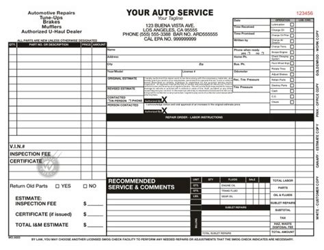 automotive repair work order template automotive work order template clergy coalition
