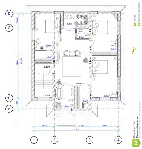 architecture home plans architectural plan of 2 floor of house royalty free stock